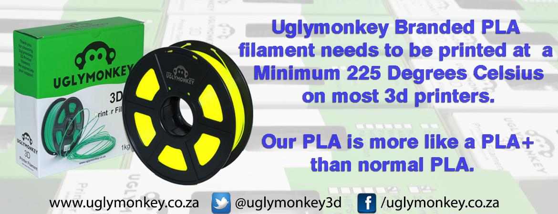 Uglymonkey PLA Printing Tempretures